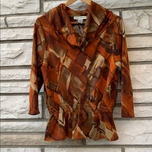 Bamboo Traders, brown shirt  with sleeve, size M